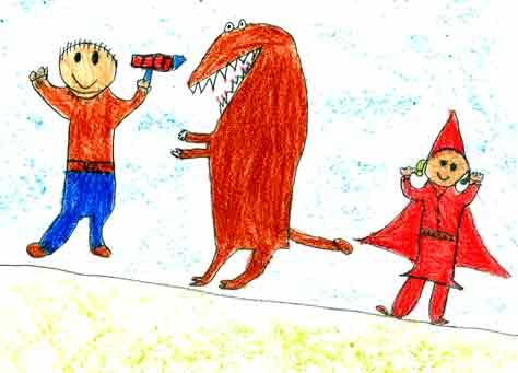 Caperucita dibujada por el niño Hui (Coruña)